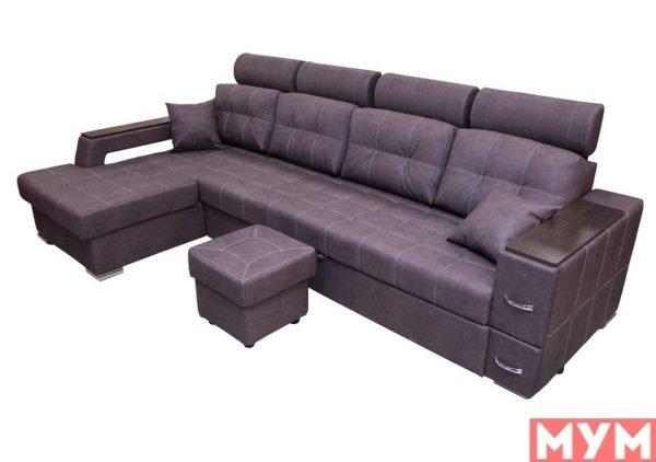 Угловой диван «Неаполь» с подголовниками со столиком